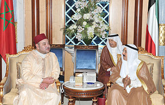 King Mohamed of Morocco and Kuwait's Sheikh Sabah Al Ahmad Al Jaber Al Sabah